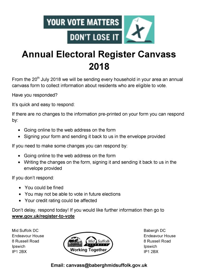 Annual Electoral Register Canvass 2018
